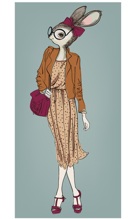 cute fashion hipster hare girl with bag. vector illustration