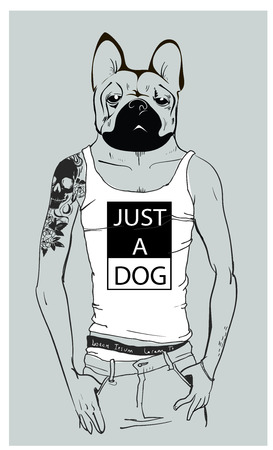 cute fashion hipster dog with tattoo. vector illustration