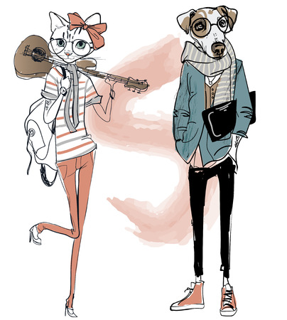 schattige mode hipster hond en kat. vector illustratie