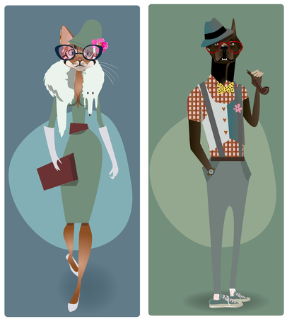 smoking woman: cute fashion hipster dog and cat. vector illustration