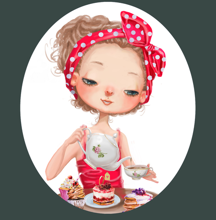 kid cartoon: cute cartoon girl with tea pot and cup