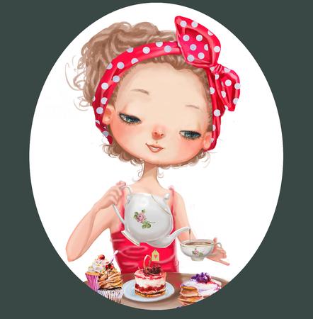 muneca vintage: linda chica de dibujos animados con tetera y taza Foto de archivo