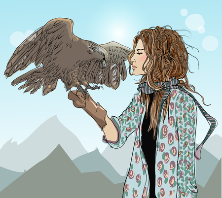 young girl with big eagle on her hand Illustration
