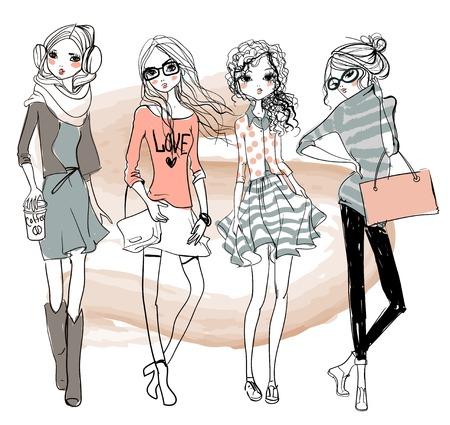 スケッチ風のスタイルでかわいいファッション漫画の女の子