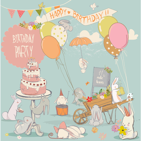 set with cute cartoon little white hares Illustration