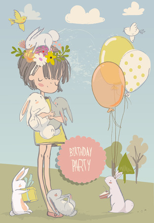 cute cartoon little girl with white hares Stock Illustratie