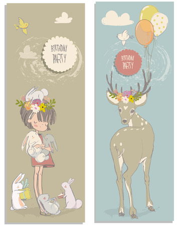 hares: cute cartoon little girl with white hares and deer
