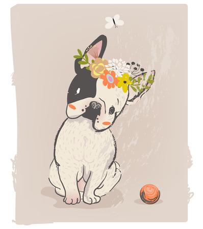little cute sitting bulldog with wreath on head