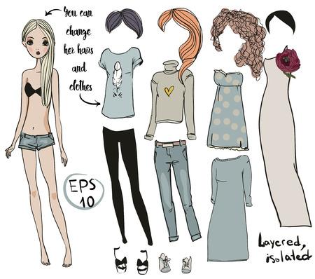 dessin animé vecteur fille poupée avec des vêtements pour les changements Vecteurs