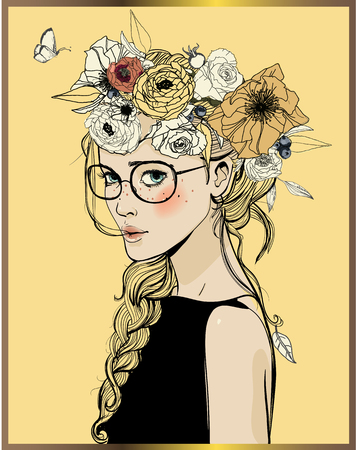 portrait of young beautiful woman wirh flowers Vectores