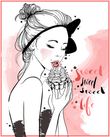 portrait of young beautiful woman with cake Illustration