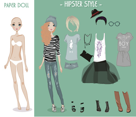 changes: cartoon vector girl doll with clothes for changes