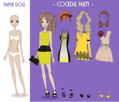 cartoon vector girl doll with clothes for changes