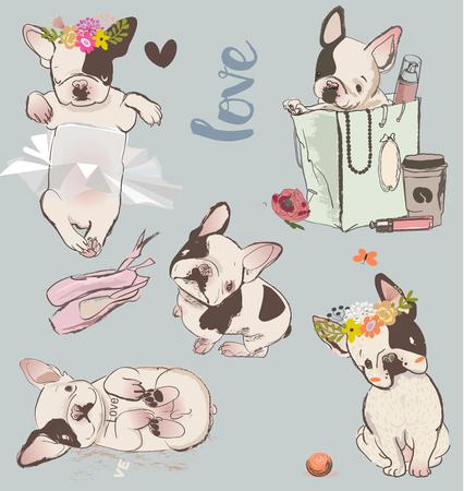 set with little cute bulldogs. vector illustration