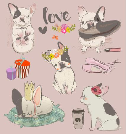 frances: engastado con pequeños bulldogs lindo. ilustración vectorial Vectores