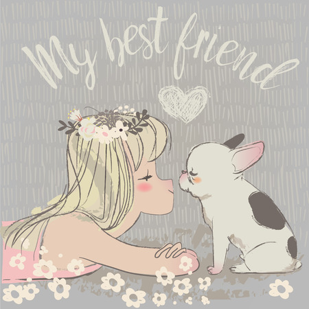 cute cartoon girl with french bulldog. vector illustration