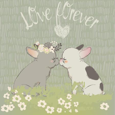 two cute vector cartoon bulldogs in love
