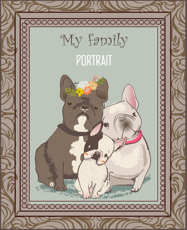 cute bulldog family portrait with frame. vector illustration