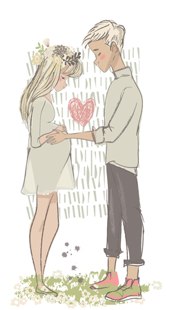 cute vector cartoon couple with pregnant woman