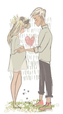 cute vector cartoon couple with pregnant woman
