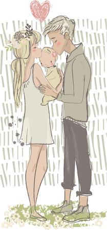 honey moon: cute vector cartoon couple with cute newborn Illustration