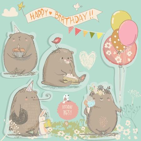 birthday vintage set with cute cartoon bears  イラスト・ベクター素材