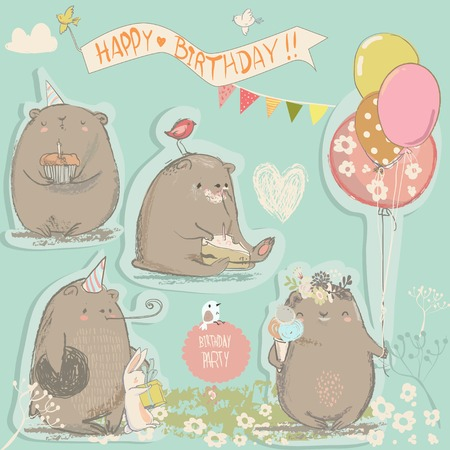 birthday vintage set with cute cartoon bears Иллюстрация