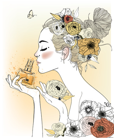 Vintage fashion girl with perfumes. Vector illustration Çizim