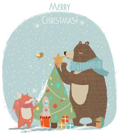 new year s card: cute bear, hare and fox - Christmas vector card