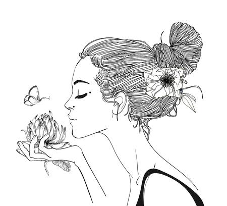 portrait de la belle jeune femme wirh fleurs Vecteurs