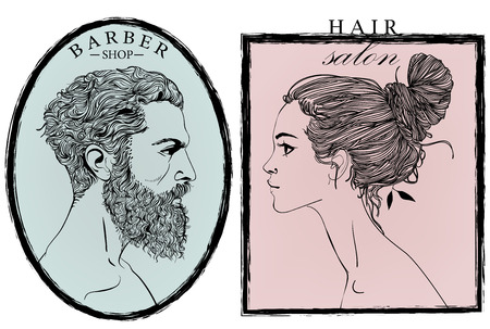 Portraits of fashion woman and men. Vector illustration. Stock Illustratie