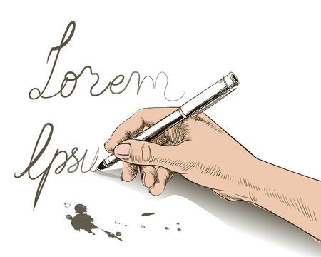 vector de escritura de la mano con la pluma