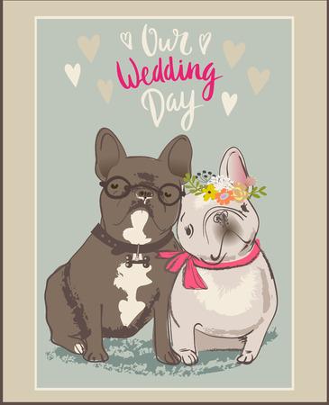 anniversario matrimonio: due bulldog carino vettore cartoni animati in amore Vettoriali