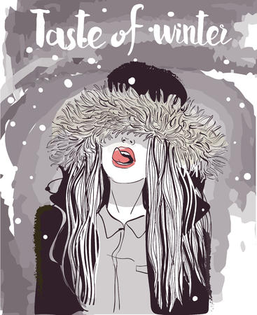 winter woman: vector young winter woman portrait in fur jacket Illustration
