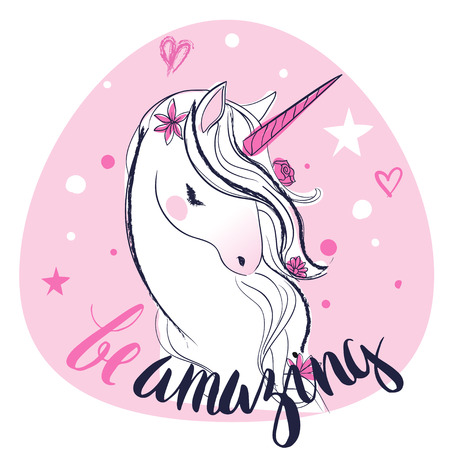 pink cartoon fairytale unicorn with stars and letters Imagens - 64813845