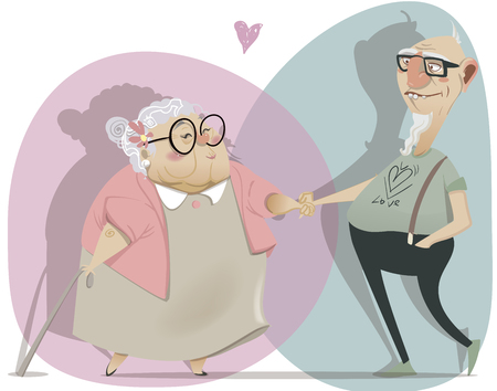 happy mature couple: old cartoon couple in love. vector illustration Illustration