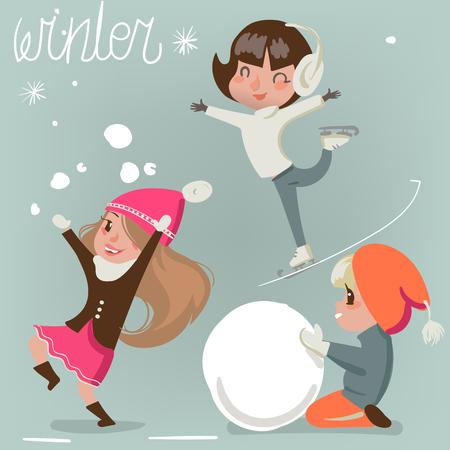cute cartoon kids: winter cute kids. vector isolated cartoon characters
