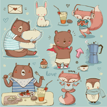 bear berry: set with cute wild animals. vector illustration