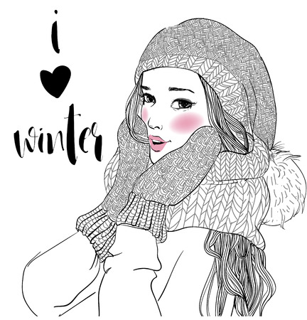 fall fashion: portrait of young beautiful woman with mittens Illustration