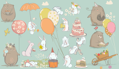 birthday card with cute bear and hare and birthday cake