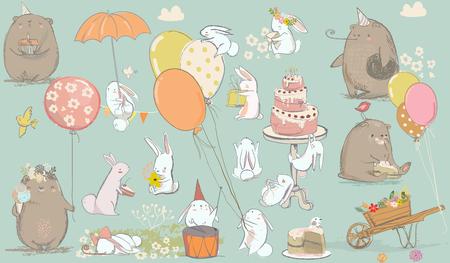 Verjaardagskaart met schattige beer en hazen en verjaardagstaart Stockfoto - 64814018