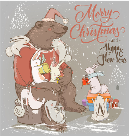 christmas pussy: christmas card with cute bear and little hares
