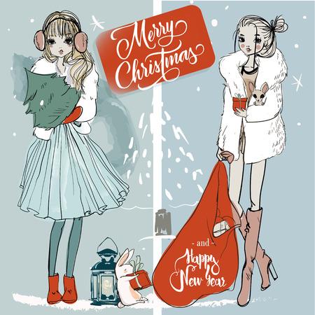 두 패션 귀여운 크리스마스 스케치 여자 일러스트