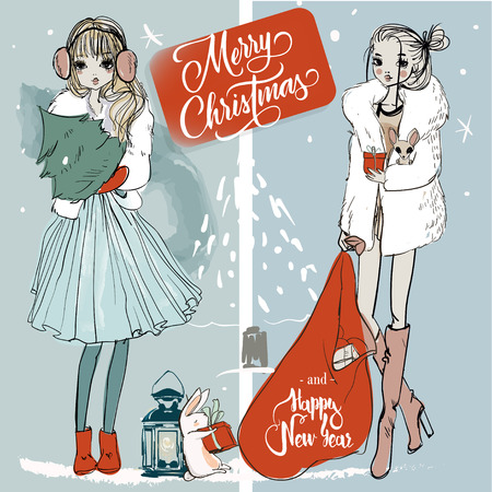 two fashion cute christmas sketchy girls
