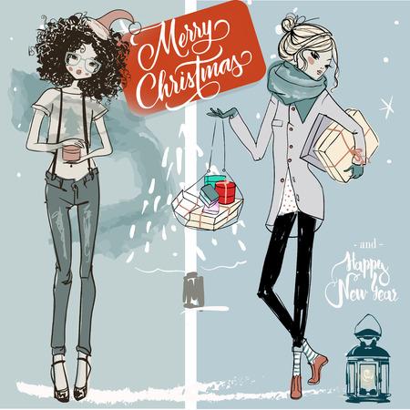 2 つのかわいいクリスマスの大ざっぱな女の子をファッションします。
