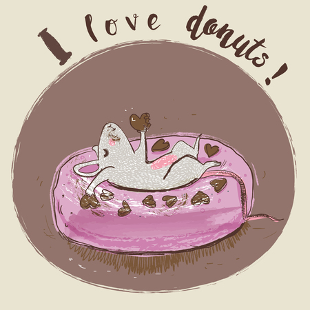 catoon: catoon mouse eating donut Illustration