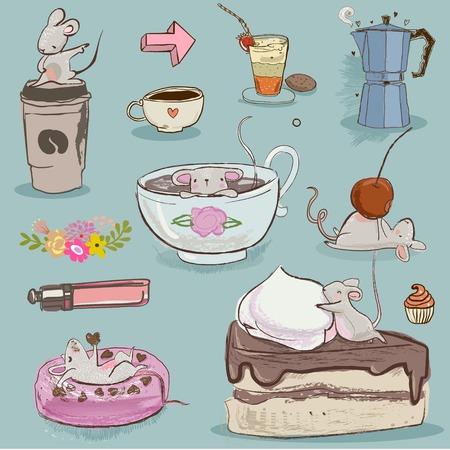 귀여운 마우스 및 디저트 벡터 컬렉션