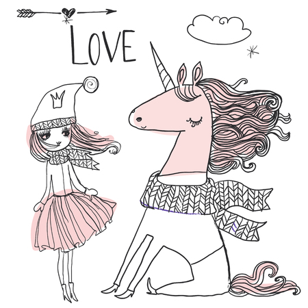 doodle winter hand drawn princess with unicorn