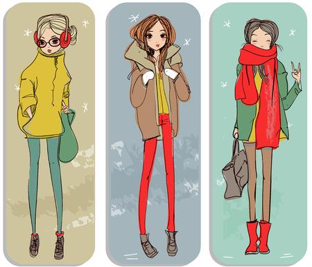 mujer alegre: lindo muchachas del invierno de dibujos animados de moda en estilo incompleto Vectores