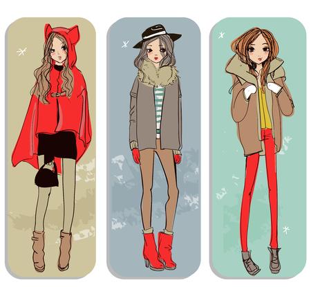 cute fashion cartoon winter girls in sketchy style